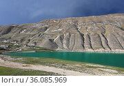 Mountain lake Machokh with dramatic sky, Russia. Стоковое фото, фотограф Алексей Кузнецов / Фотобанк Лори