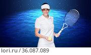 Female tennis player holding racket and tennis ball against digital waves on blue background. Стоковое фото, агентство Wavebreak Media / Фотобанк Лори