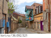 Houses in mediaeval quarter in Tbilisi, Georgia. Стоковое фото, фотограф Яков Филимонов / Фотобанк Лори