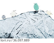funny little penguins made of a piece of seaglass, with sketchily drawn legs and beak, isolated on white background. Стоковое фото, фотограф Tamara Kulikova / Фотобанк Лори