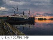 Старый пароход Salama в музее старинных кораблей июньским сумрачным вечером. Савонлинна, Финляндия (2016 год). Редакционное фото, фотограф Виктор Карасев / Фотобанк Лори
