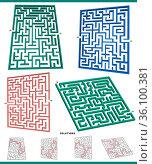 Illustration of mazes leisure game graphs set with solutions. Стоковое фото, фотограф Zoonar.com/Igor Zakowski / easy Fotostock / Фотобанк Лори