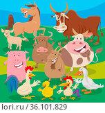 Cartoon illustration of cheerful farm animal characters group in the... Стоковое фото, фотограф Zoonar.com/Igor Zakowski / easy Fotostock / Фотобанк Лори