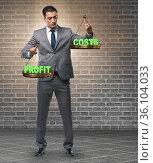 Businessman in cost benefit balance concept. Стоковое фото, фотограф Elnur / Фотобанк Лори