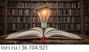 Education, knowledge and innovation concept background. Light bulb with mortar board on open book in vintage library. Стоковое фото, фотограф Maksym Yemelyanov / Фотобанк Лори