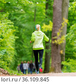 Sporty young female runner in forest. Running woman. Female runner... Стоковое фото, фотограф Zoonar.com/Matej Kastelic / easy Fotostock / Фотобанк Лори