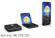 Flexible smartphones in the bent and unbent form. 3d render. Стоковое фото, фотограф Zoonar.com/Roman Ivashchenko / easy Fotostock / Фотобанк Лори