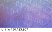 Binary coding data processing against blue smoke effect on black background. Стоковое фото, агентство Wavebreak Media / Фотобанк Лори