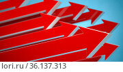 Up red arrows on blue background. Abstract business growth concept. Стоковое фото, фотограф Maksym Yemelyanov / Фотобанк Лори