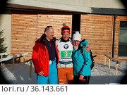 Hatten gut lachen: v.li. Die Eltern Andreas und Heike Horn freuen... Стоковое фото, фотограф Zoonar.com/Joachim Hahne / age Fotostock / Фотобанк Лори