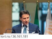 Former Italian prime minister Giuseppe Conte in press conference ... Редакционное фото, фотограф Cristiano Minichiello / AGF/Cristiano Minichiello / age Fotostock / Фотобанк Лори