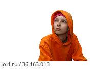 Portrait of a teenage girl in a hoodie isolated on white background. Стоковое фото, фотограф Евгений Харитонов / Фотобанк Лори