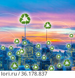 Concept of city powered by green energy. Стоковое фото, фотограф Elnur / Фотобанк Лори