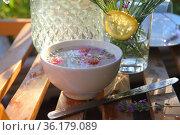 Still life with lavender lemonade. Стоковое фото, фотограф Марина Володько / Фотобанк Лори