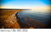 Sea foam at the beach of the Aral Sea near Aktumsuk cape at sunset, Karakalpakstan, Uzbekistan. Стоковое фото, фотограф Сергей Майоров / Фотобанк Лори