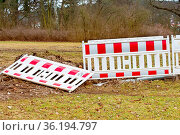 Some Building fences in the park with anarchy signs. Стоковое фото, фотограф Zoonar.com/Marcus Beckert / easy Fotostock / Фотобанк Лори