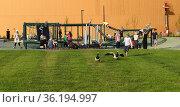 Playground near Helsinki Central Library Oodi (2019 год). Редакционное фото, фотограф Валерия Попова / Фотобанк Лори