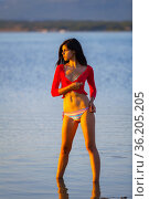 Attractive teen girl on the beach watching sunset. Стоковое фото, фотограф Emil Pozar / age Fotostock / Фотобанк Лори