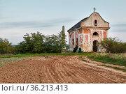 Chapel ruines on a field, aerial shot. Стоковое фото, фотограф Zoonar.com/Péter Gudella / easy Fotostock / Фотобанк Лори