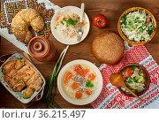 Polish cuisine , Traditional assorted Poland dishes, Top view. Стоковое фото, фотограф Zoonar.com/MYCHKO / easy Fotostock / Фотобанк Лори