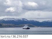 Fahrt mit der Autofähre vom Valset über den Trondheimfjorden nach... Стоковое фото, фотограф Zoonar.com/Eder Christa / easy Fotostock / Фотобанк Лори