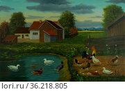 Ölgemälde - Bauernhof und ein Teich mit freilaufenden Enten und Hühnern... Стоковое фото, фотограф Zoonar.com/Christian Länger / easy Fotostock / Фотобанк Лори