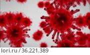 Image of macro red coronavirus cells flowing and spreading on white background. Стоковое фото, агентство Wavebreak Media / Фотобанк Лори
