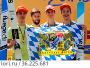 Deutscher Meister: Bayern II mit Karl Geiger (SC Oberstdorf), Max... Стоковое фото, фотограф Zoonar.com/Joachim Hahne / age Fotostock / Фотобанк Лори