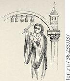 Harmonic bells from the 9th century. Old 19th century engraved illustration... Редакционное фото, фотограф Jerónimo Alba / age Fotostock / Фотобанк Лори