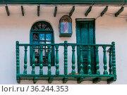 Bogota La Candelaria district ancient wooden balcony Colombia. Стоковое фото, фотограф Zoonar.com/Marco Bonacini / easy Fotostock / Фотобанк Лори