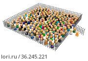 Large crowd of small symbolic 3d figures, behind iron fence, over... Стоковое фото, фотограф Zoonar.com/Viktors Ignatenko / easy Fotostock / Фотобанк Лори