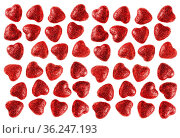 Many small glitter red hearts isolated on white background - love... Стоковое фото, фотограф Zoonar.com/BASHTA / easy Fotostock / Фотобанк Лори