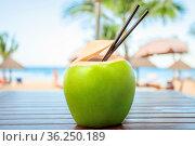Coconut with cocktail drinking straw in front of tropical sea background... Стоковое фото, фотограф Zoonar.com/Svetlana Radayeva / easy Fotostock / Фотобанк Лори