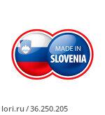 Slovenia national flag, vector illustration on a white background. Стоковое фото, фотограф Zoonar.com/Aleksey Butenkov / easy Fotostock / Фотобанк Лори
