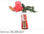 Besteck mit Weihnachtsdekoration auf weiss - Flatware with Christmas... Стоковое фото, фотограф Zoonar.com/lantapix / easy Fotostock / Фотобанк Лори