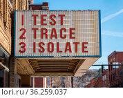 Mockup of movie cinema billboard with Test, Trace, Isolate message... Стоковое фото, фотограф Zoonar.com/Steve Heap / easy Fotostock / Фотобанк Лори