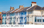 Colorful houses along the seaside in Eastbourne, Sussex, United Kingdom... Стоковое фото, фотограф Zoonar.com/Hilda Weges / easy Fotostock / Фотобанк Лори