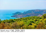 Panoramic view of seashore of Aegina Island, Agia Marina, Saronic... Стоковое фото, фотограф Zoonar.com/Roman Sigaev / easy Fotostock / Фотобанк Лори