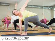 Mature women making yoga. Extended triangle pose. Стоковое фото, фотограф Яков Филимонов / Фотобанк Лори