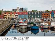 TORSHAvN, FAROE ISLANDS, DENMARK - AUGUST 21, 2018: Beautiful colourful... Стоковое фото, фотограф Zoonar.com/Jiri Vondrous / age Fotostock / Фотобанк Лори