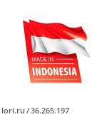 Indonesia flag, vector illustration on a white background. Стоковое фото, фотограф Zoonar.com/Aleksey Butenkov / easy Fotostock / Фотобанк Лори