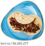 Tacos, mexican spicy food with beef. Стоковое фото, фотограф Яков Филимонов / Фотобанк Лори
