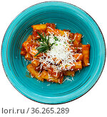 Italian pasta amatricana with tomato sauce and goat cheese on a blue ceramic plate in a restaurant. Isolated over white background. Стоковое фото, фотограф Яков Филимонов / Фотобанк Лори