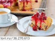 Fruchtiger Stracciatella-Kuchen mit roter Beeren-Grütze und Kirschen... Стоковое фото, фотограф Zoonar.com/Karl Allgäuer / easy Fotostock / Фотобанк Лори