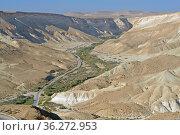 Summer landscape. Road in Negev desert, semidesert region of southern Israel (2019 год). Стоковое фото, фотограф Валерия Попова / Фотобанк Лори