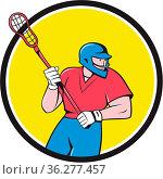 Illustration of a lacrosse player holding a crosse or lacrosse stick... Стоковое фото, фотограф Zoonar.com/patrimonio designs limited / easy Fotostock / Фотобанк Лори