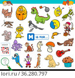 Cartoon Illustration of Finding Picture Starting with Letter M Educational... Стоковое фото, фотограф Zoonar.com/Igor Zakowski / easy Fotostock / Фотобанк Лори