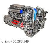 Moderner 8-Zylinder Motor eines PKW der Luxusklasse. Стоковое фото, фотограф Zoonar.com/ironjohn / easy Fotostock / Фотобанк Лори