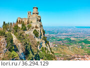 Fortress Guaita on Mount Titano , San Marino. Стоковое фото, фотограф Zoonar.com/Roman Sigaev / easy Fotostock / Фотобанк Лори