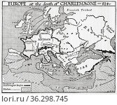 Map of Europe at the death of Charlemagne, 814 AD. From A Short History... Стоковое фото, фотограф Classic Vision / age Fotostock / Фотобанк Лори